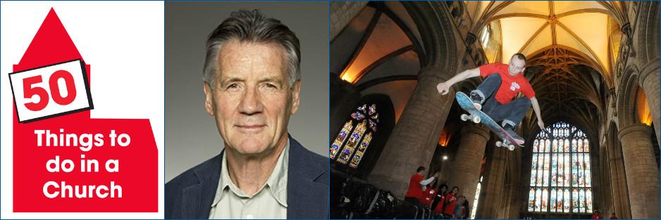 50 Things to do in a Church. Michael Palin. Skateboarder in Church.