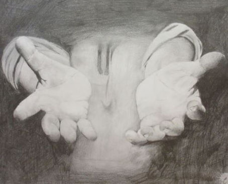 Hands stretched out in darkness