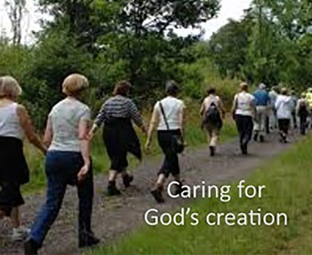 People walking. Caring for God's creation.