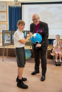 Bishop Alan at launch with school boy