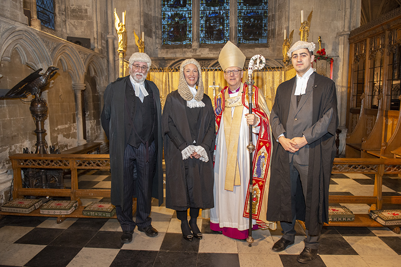 L to R: Roger Kaye, QC, Lynsey de Mestre, QC, the Bishop of St Albans, Matthew Chinery, Diocesan Registrar