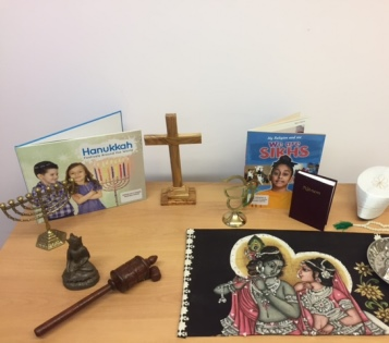 Table displaying different religious items