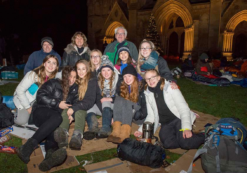 Just some of the school students who took part in 2016's Sleepout