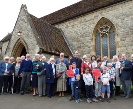 Parishioners in front of Hertford Church