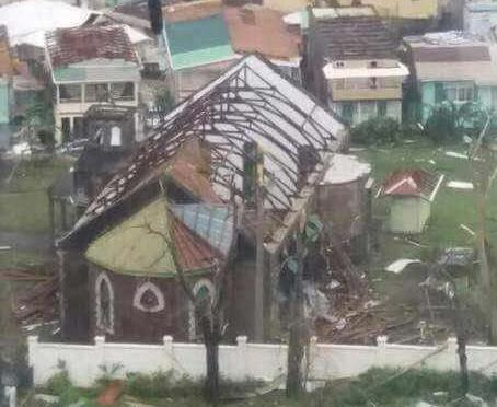 The wreckage of St George's Church, Dominica