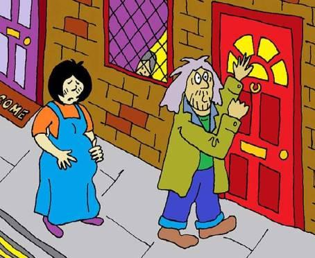 Mary and Joseph on the doorstep