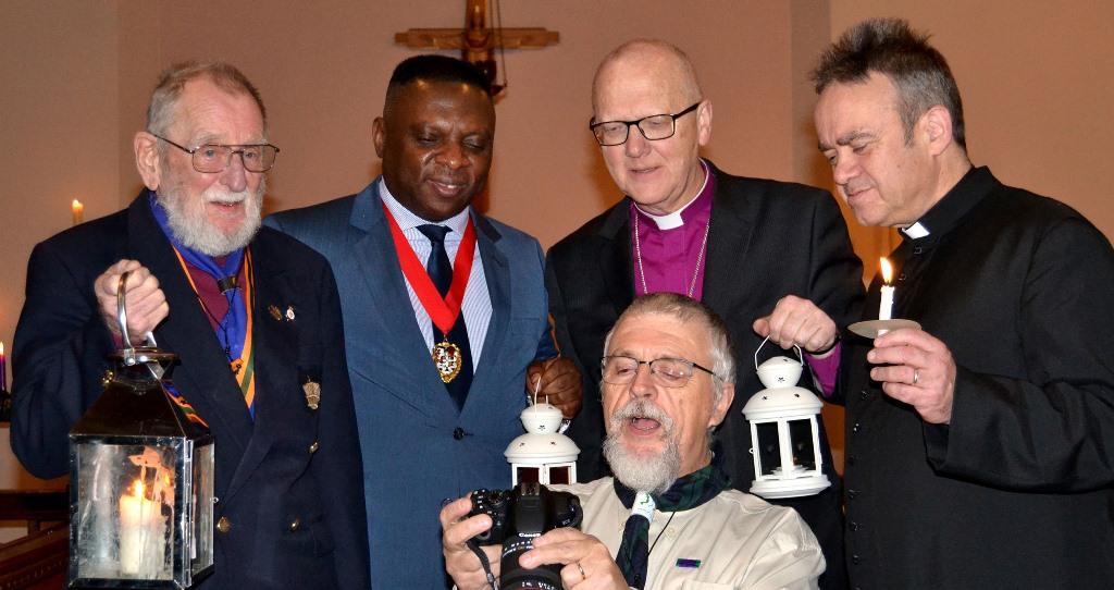 Bishop Alan with Luton Deputy Mayor Cllr David Agbley, Secretary of the UKIM Madinah Mosque Mr Maqsood Anwaar and Revd David Kesterton, Vicar of All Saints
