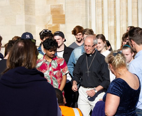 Archbishop Justin with GCSE and A level students