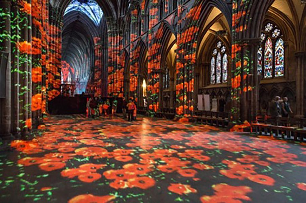 Poppy Field art installation in the Nave of St Albans Cathedral