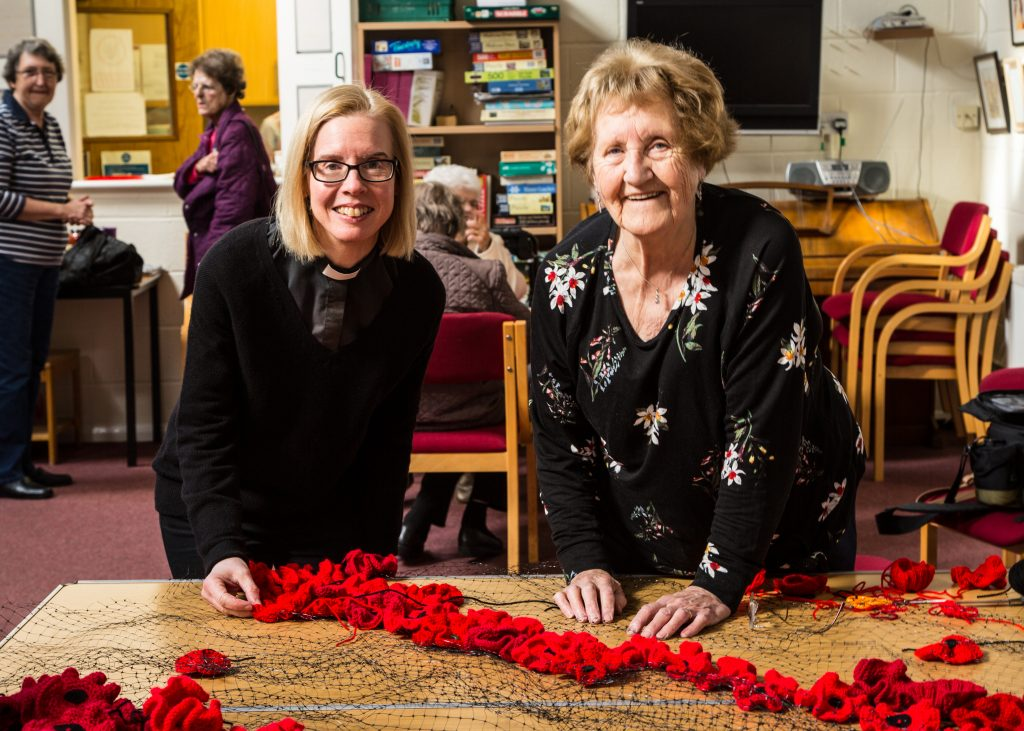 Vicar of Sawbridgeworth Revd Frances Arnold with the team of community crafters